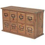 1678 Vintage Brown 8 Drawer Cabinet