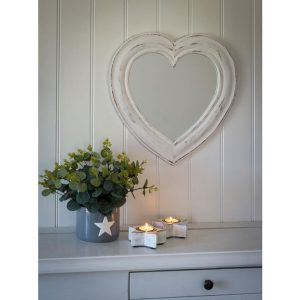 17AW100 Distressed White Wooden Heart Mirror