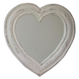17AW100 a Distressed White Wooden Heart Mirror