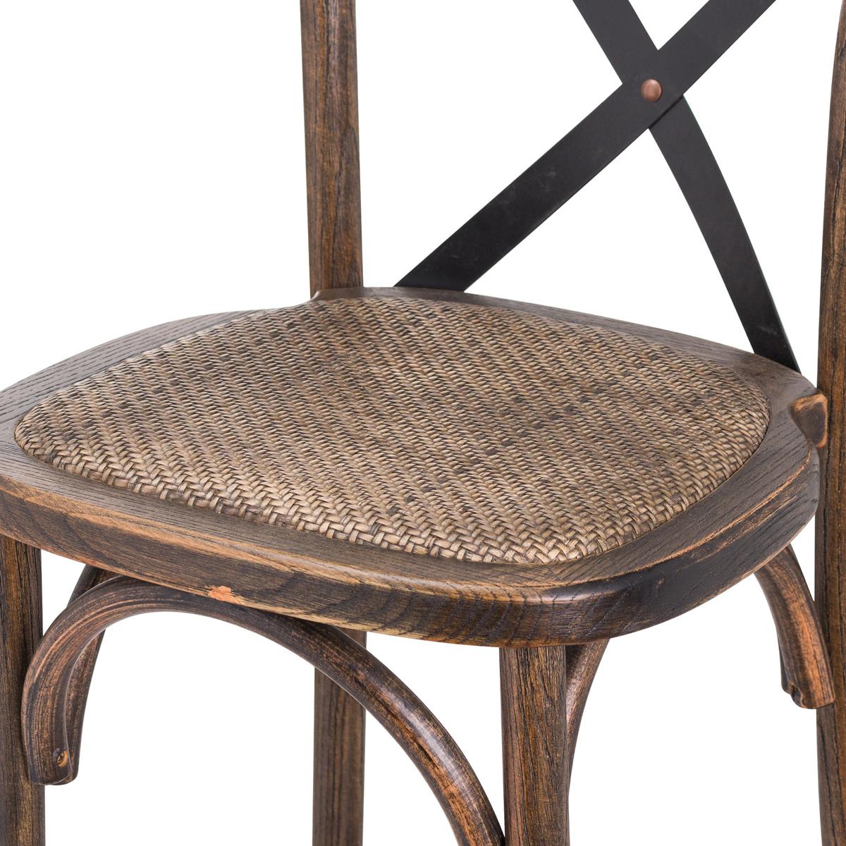 brown oak cross back bar stool  interior flair