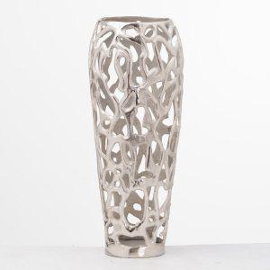 20661 Hand Cast Silver Metal Coral Vase