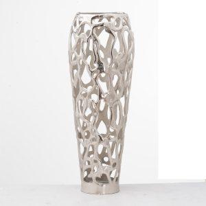 20662 Large Silver Metal Coral Vase
