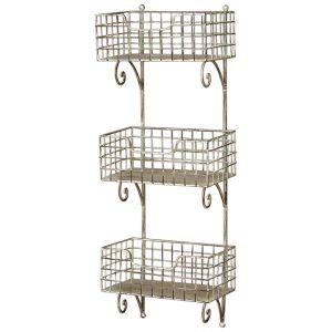 3060 Vintage Grey Basket Shelf Rack