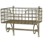 3061 Antique Style Basket Shelf with Rail