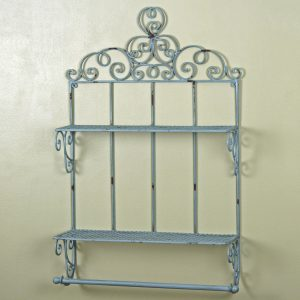 3163 Large Antique Grey Shelves with Rail
