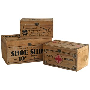 4014 Set of 3 Wooden Storage Boxes