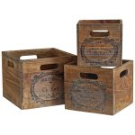 4544 Set of 3 Brown Wooden Wine Boxes