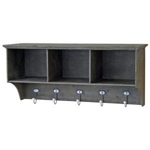 4597 Grey Wooden Shelf Unit with Hooks