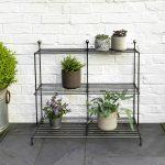 BSME16_Matt Grey Metal Plant Stand Shelves