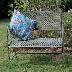 4080 Floral Lattice Blue Grey Garden Bench