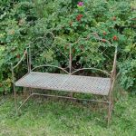 4084 Antique Brown Grey Metal Garden Bench