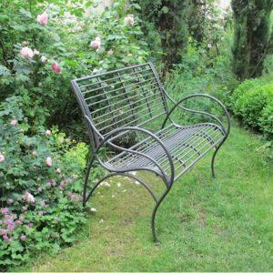 4096 Dark Grey Curved Metal Garden Bench 2