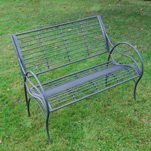 4096 Dark Grey Curved Metal Garden Bench