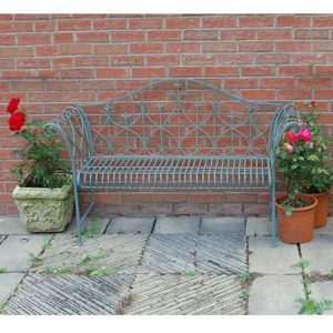 4138 Antique Blue Metal Garden Bench 2
