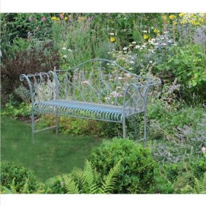 4138 Antique Blue Metal Garden Bench 3