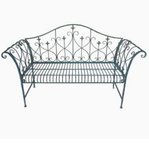 4138 Antique Blue Metal Garden Bench