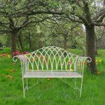 4139 Gothic Style Cream Metal Garden Bench b