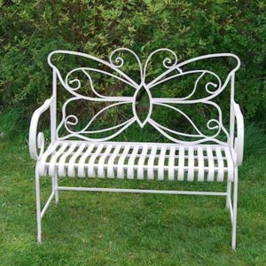 4144 Cream Metal Butterfly Garden Bench
