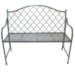 4183 Moroccan Style Grey Metal Garden Bench