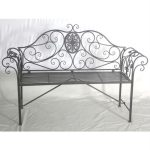 4189 Rococo Style Grey Metal Garden Bench
