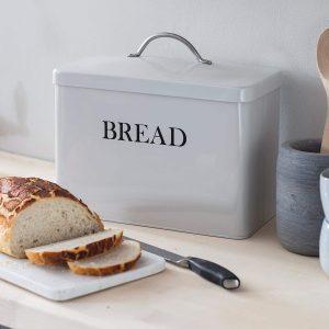 Vintage Style White Grey Bread Bin a
