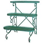 3842 Ornate Vintage Style Green Shelf Unit