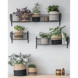 HBBL01 Slim Black Wire Basket Shelf A