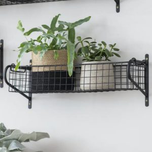 HBBL02 Black Wire Basket Wall Shelf