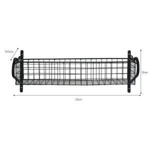 HBBL02 Black Wire Basket Wall Shelf b