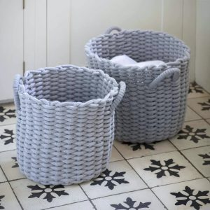 RBGY02 Set of 2 Blue Round Baskets