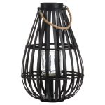 20586 Large Black Rattan Candle Floor Lantern