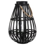 20587 Black Domed Candle Floor Lantern