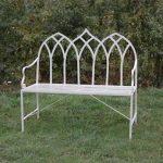 4128 Gothic Style Cream Garden Bench a