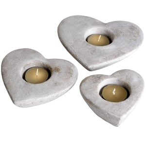 9066 Set of 3 Cream Heart Candle Holders