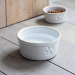 PBST02 Large White Paw Print Pet Bowl a