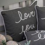 Printed 'Love You' Grey Cushion a