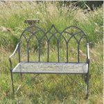 4142 Gothic Style Dark Grey Garden Bench
