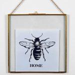 4694 Home Bee Black White Framed Print