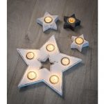 16SS02 Distressed White Star Candle Holder