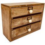 N0522 Solid Wood Brown 3 Drawer Organiser