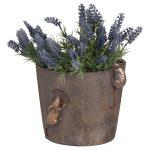 19676-a Rustic Mice Brown Flower Pot
