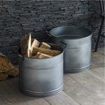 BUGA03 Grey Galvanised Steel Buckets Set of 2