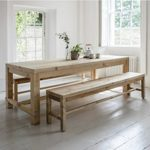 BVPI01 Large Rustic Dining Table & 2 Benches a