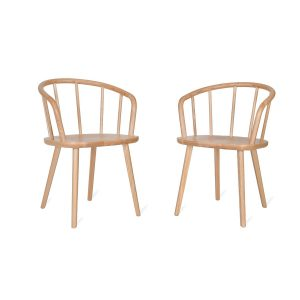 Natural Ash Wooden Carver Chairs Set of 2