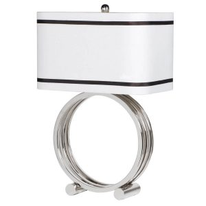 CLM004 Silver Circle Table Lamp with Shade