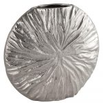 21537 Large Silver Metal Textured Vase