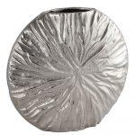 21538 Silver Metal Textured Vase