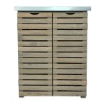 Contemporary Slatted Wooden Storage Unit