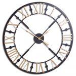 20795 Black Gold Metal Skeleton Clock