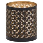 21098 Black Gold Cylinder Candle Lantern